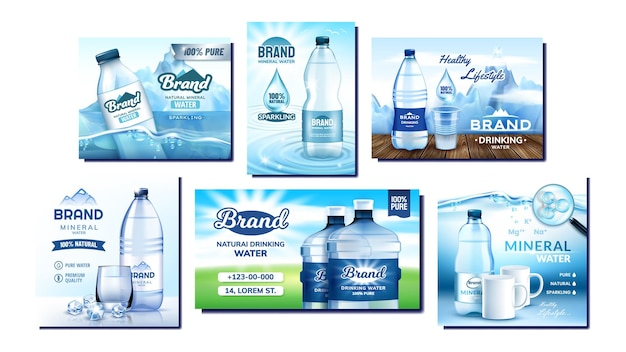 Mineral water creative promo posters set vector. blank bottles, glass and cup, sea and mountain collection advertising marketing banners. style color concept template illustrations
