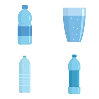 Mineral water icons set