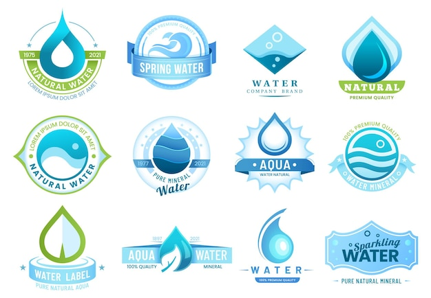 Mineral water labels, template bottle package and brand company design.