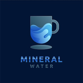 Mineral water logo with gradient color concept