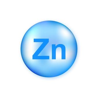 미네랄 zn 블루 빛나는 알 약 캡슐 흰색 배경에 고립.