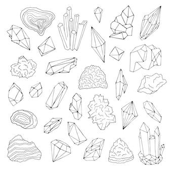 Минералы, кристаллы, драгоценные камни изолированные черно-белые векторные иллюстрации рисованной набор.