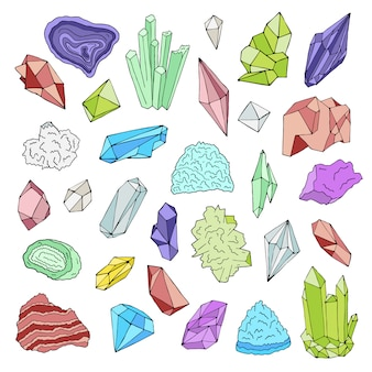 Minerals, crystals, gems isolated color   illustration hand drawn set.