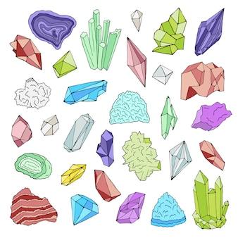 Минералы, кристаллы, драгоценные камни изолированные цветной иллюстрации рисованной набор.