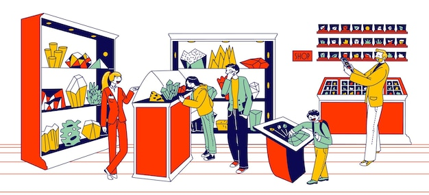 Minerals exhibition illustration, costumers in a shop