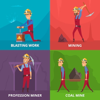 Miners characters at work