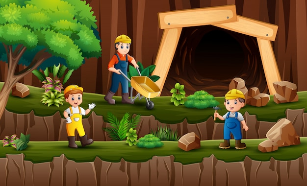 The miners working in front of the coal mine