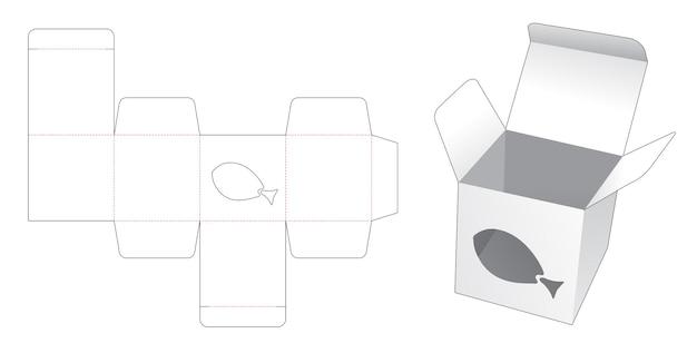 Mini box with fish shaped window die cut template