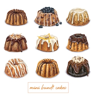 Mini bundt cake illustration
