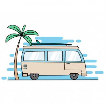 Mini bus go to beach with coconut tree and surf board by using flat design