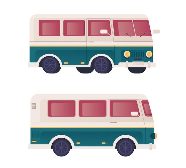 Мини-автобус транспортный набор плоский дизайн иллюстрация