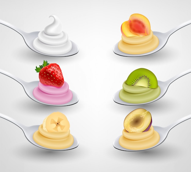 Mini desserts served on spoon appetizing realistic set with strawberry banana kiwi apricot flavored cream illustration
