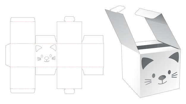 Mini flips box with cat stencil die cut template
