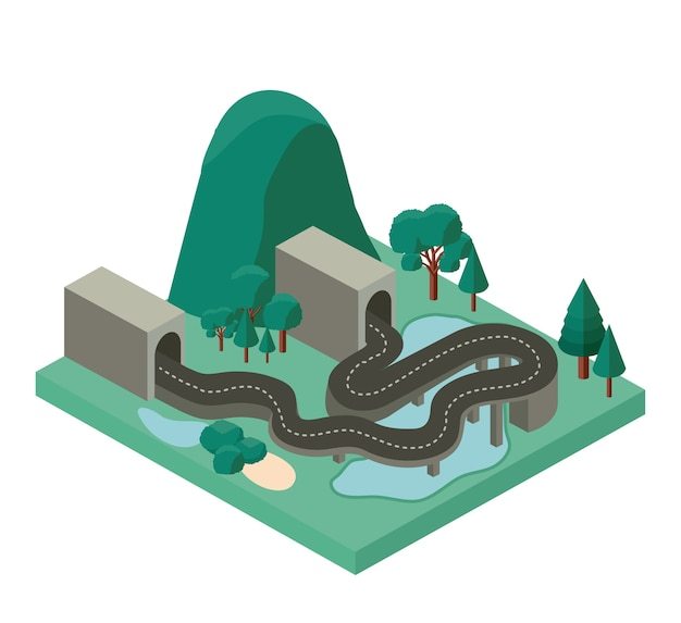 Mini forest scene with road and tunnel isometric icons