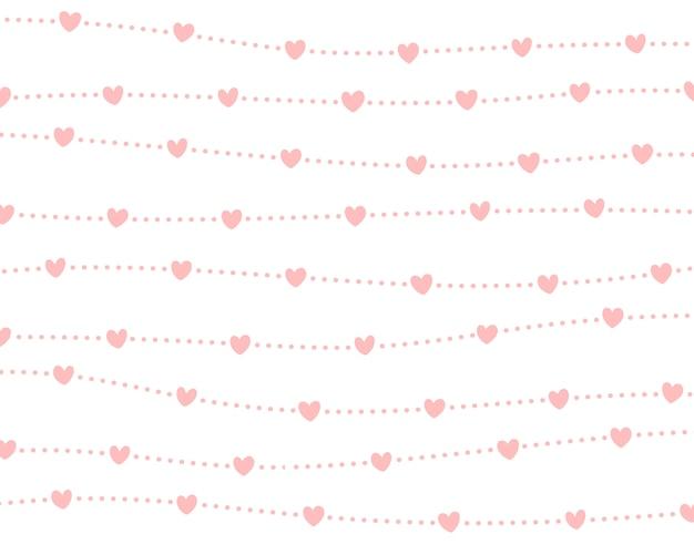 Мини-сердца и пунктирная линия фон.