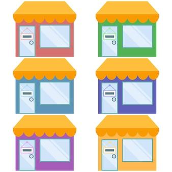 Mini market where shopping element flat illustration