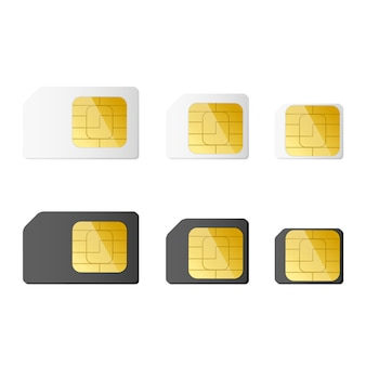 Mini, micro, nano sim cards in black and white color