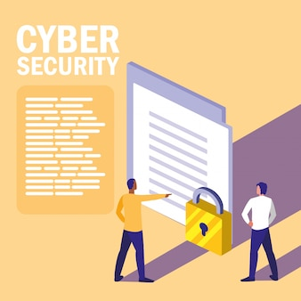Mini people with document and cyber security