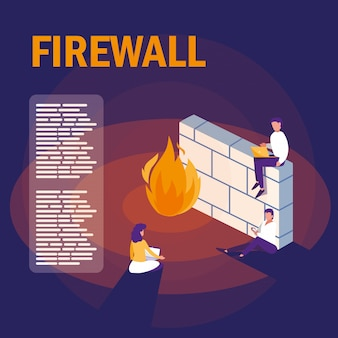 Mini people with firewall and cyber security