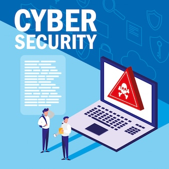 Mini people with laptop infected and cyber security