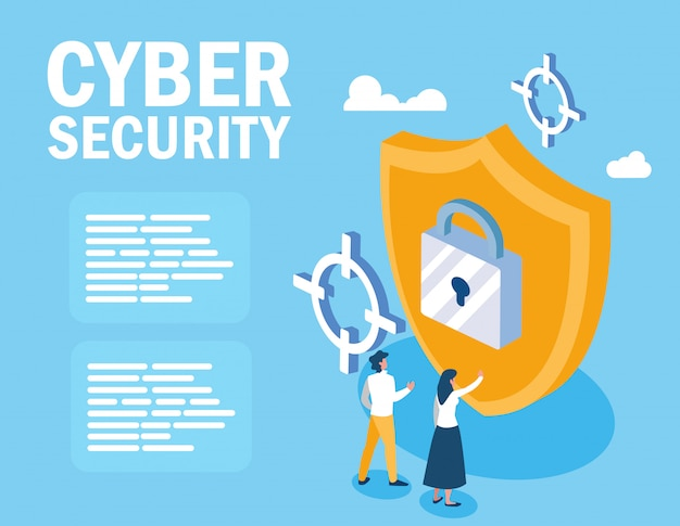 Mini people with shield and cyber security
