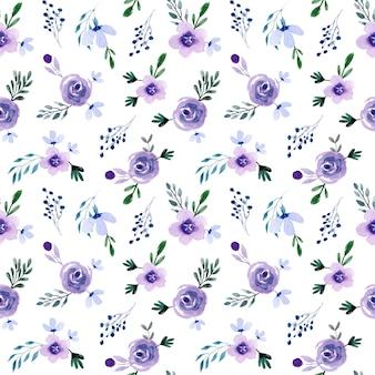 Mini purple watercolor floral seamless pattern