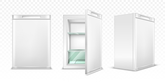 Mini refrigerator, empty white kitchen fridge