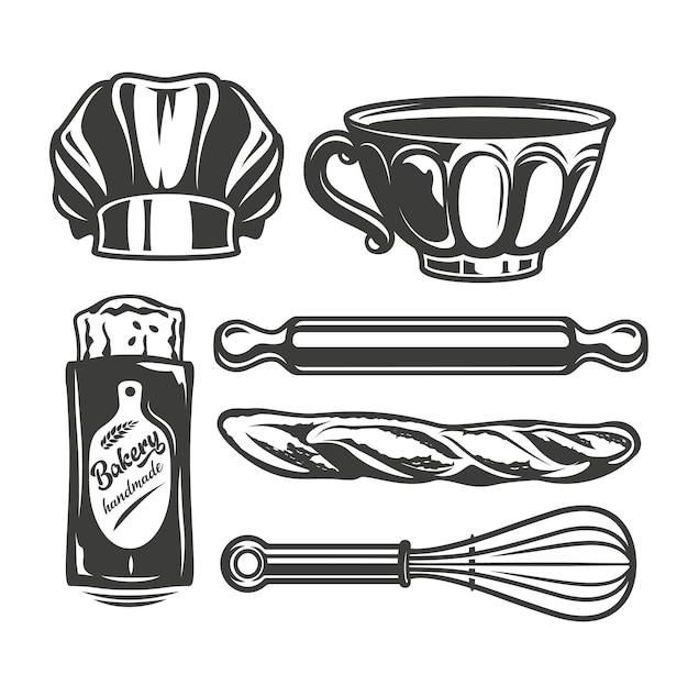 흰색 바탕에 빵집 도구의 미니 설정된 벡터 일러스트 레이 션.