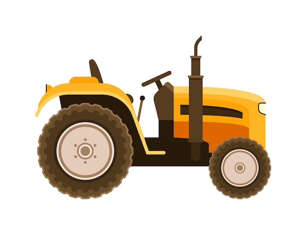 Mini tractor agricultural machinery on white background