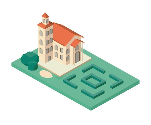 Мини-дерево и здание замка изометрические