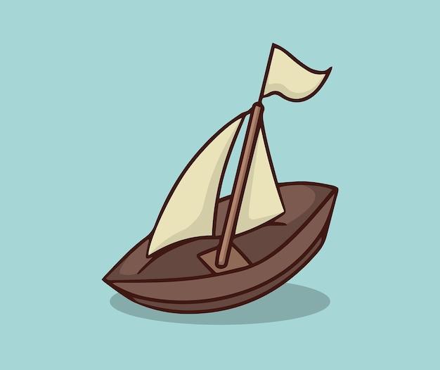 Mini two sail ship illustration
