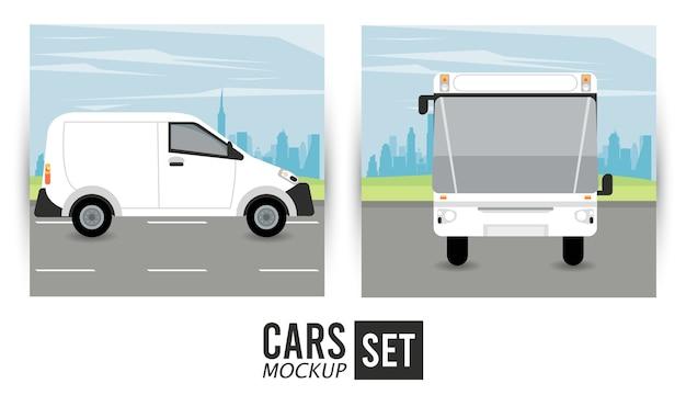 Mini van and bus mockup cars vehicles