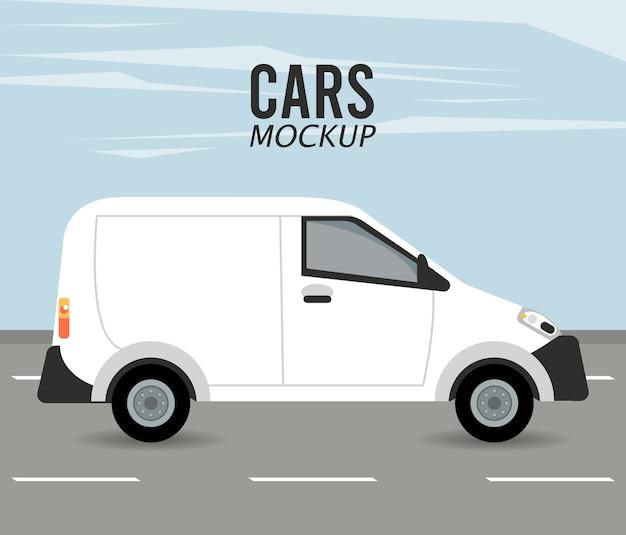 Mini van mockup car vehicle in the road
