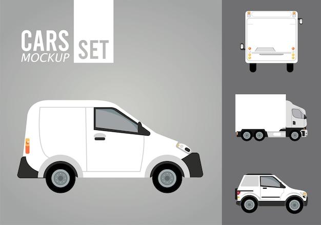 Mini van white and set vehicles mockup