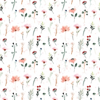 Mini wild floral watercolor seamless pattern