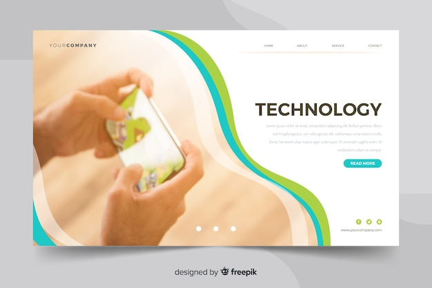 Minialist technology landing page with person photo