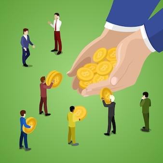 Bitcoins를 사용하는 미니어처 비즈니스 사람들