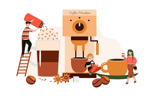 Miniature people characters in coffee shop, flat cartoon illustration
