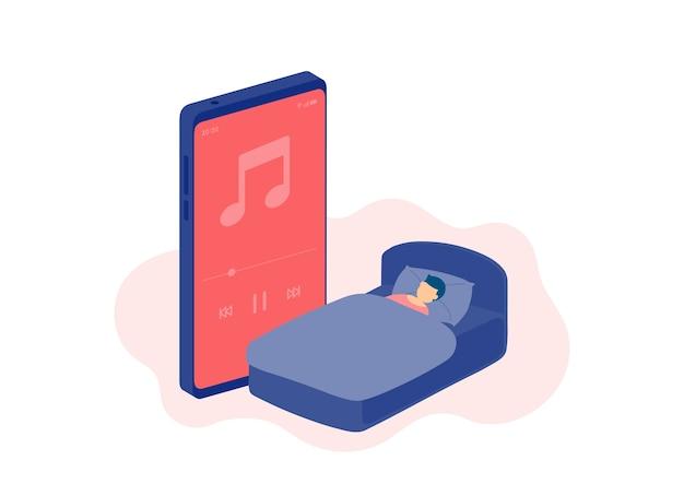 미니어처 수면 사람들은 온라인 팟 캐스트를 듣는다