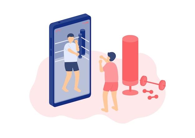 미니어처 작은 사람들 권투 온라인 수업
