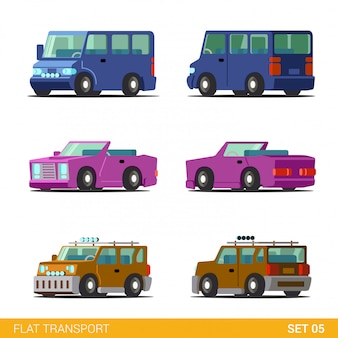 Minibus cabriolet convertible coupe universal family car funny transport flat  set