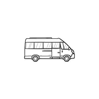 Микроавтобус рисованной наброски каракули значок. пассажирский автобус и транспорт, автофургон, концепция туризма. векторная иллюстрация эскиз для печати, интернета, мобильных устройств и инфографики на белом фоне.