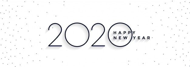 Minimal 2020 happy new year white banner