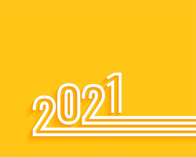 Minimal 2021 happy new year yellow background