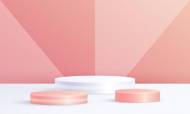 최소한의 3d 장면 제품 디스플레이 원형 연단 기하학적 배경 주황색