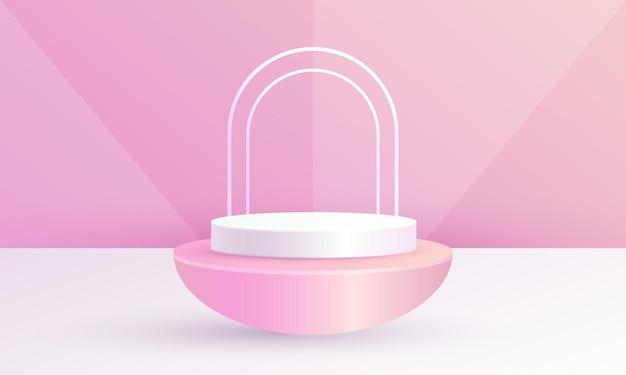 최소한의 3d 장면 제품 디스플레이 원형 연단 기하학적 배경 핑크 색상