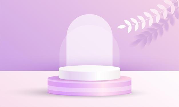 최소한의 3d 장면 제품 디스플레이 원 연단 잎 배경 보라색