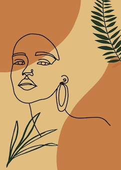 Minimal abstract background with one line woman portrait