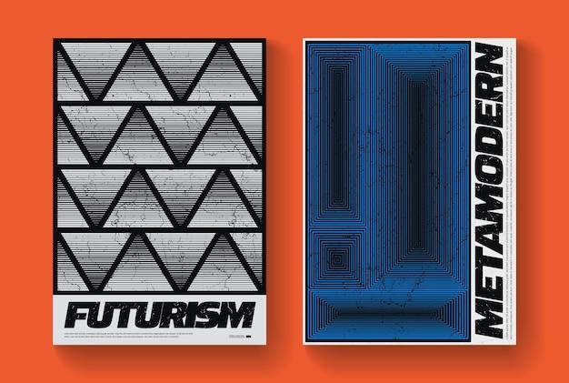 최소한의 추상 포스터 세트입니다. 기하학적 모양이 있는 스위스 디자인 구성입니다. 현대 패턴입니다. 미래 지향적인 표지.