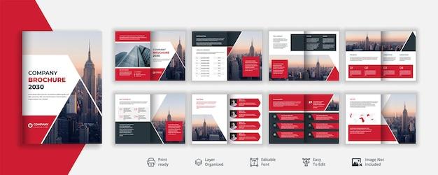 Минималистичный и креативный корпоративный или деловой рекламный квадратный проспект на 8 страниц оранжевого цвета